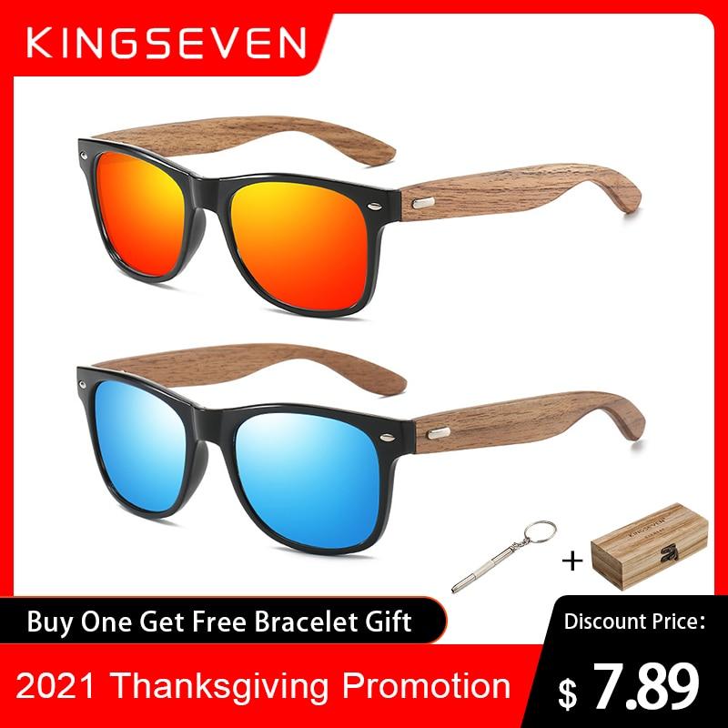 KINGSEVEN – lunettes de soleil polarisées en bois naturel pour hommes et femmes, 2021 faites à la main, miroir UV400, à la mode, 100%