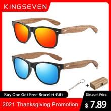 Kingseven marca 2021 moda 100% artesanal de madeira natural dos homens óculos de sol polarizados uv400 espelho eyewear