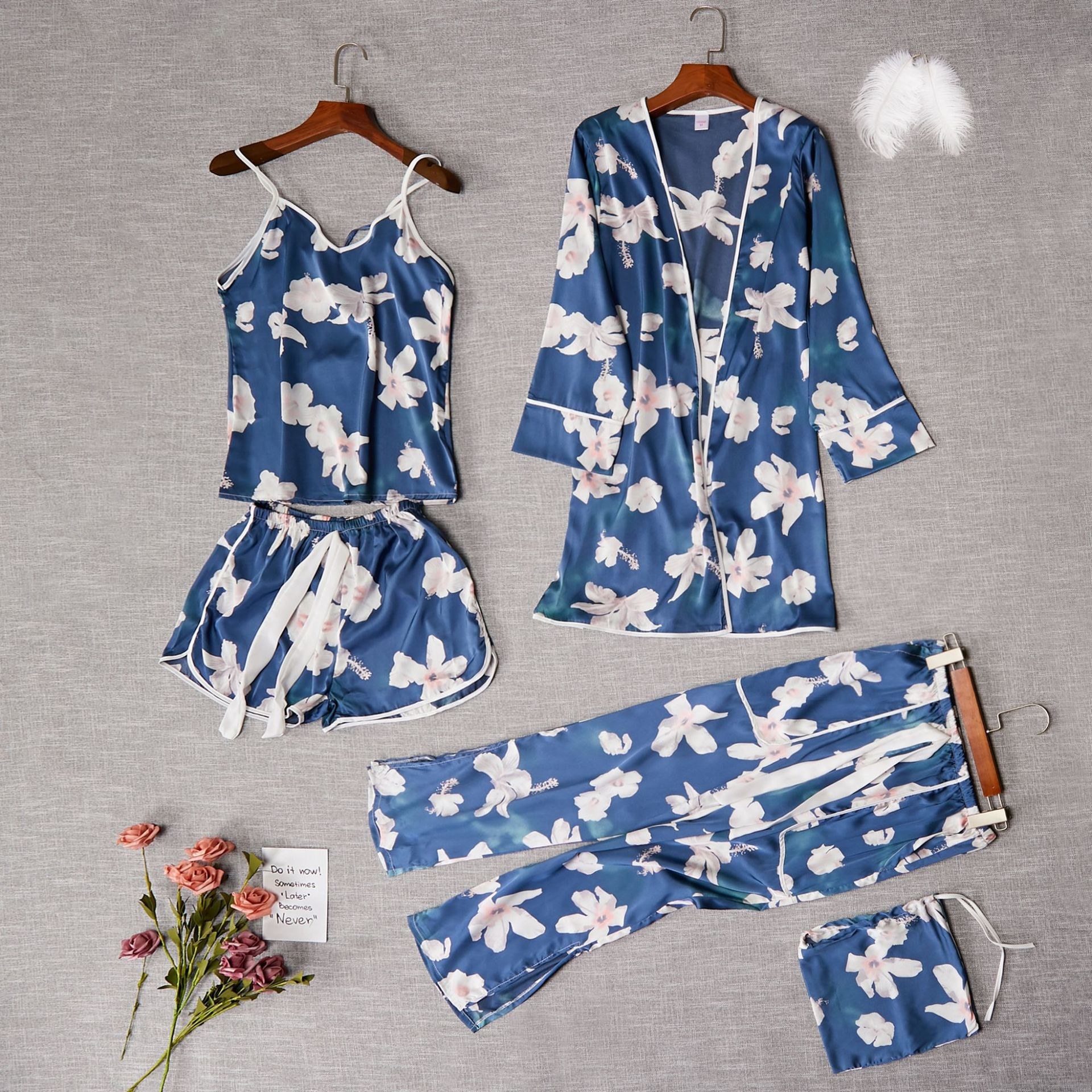 2020 New Satin Kimono Robe Gown 5PCS Pajamas Set Lady Bathrobe Sleepwear Sexy Print Flower Intimate Lingerie Pyjamas Nightwear