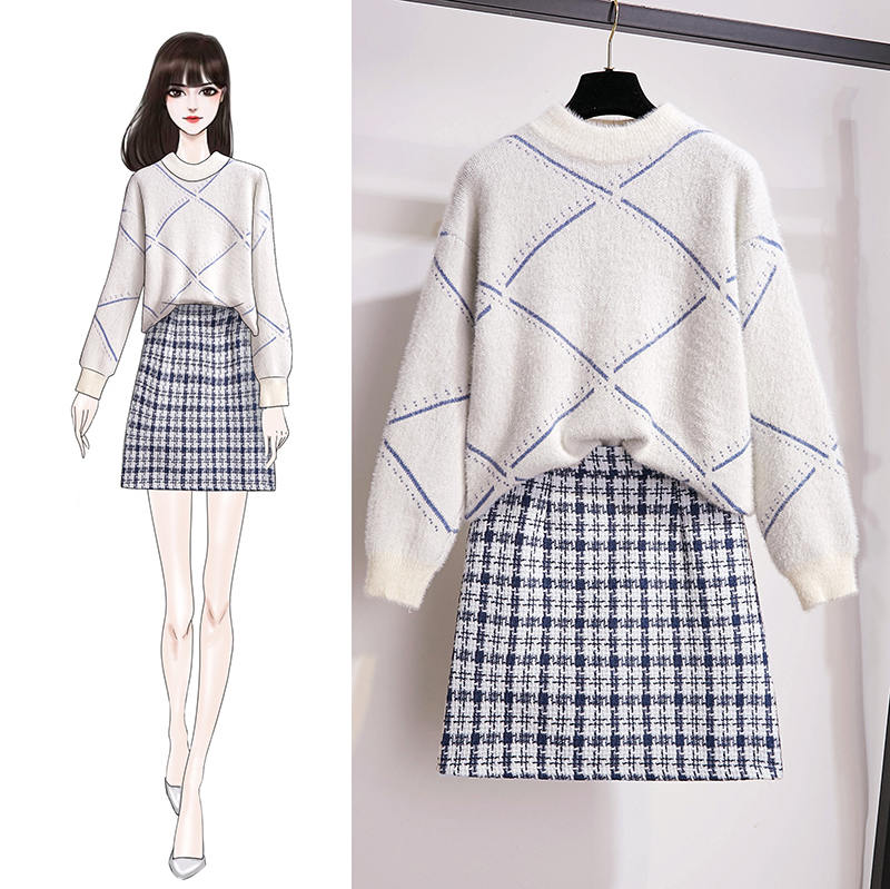 Thickening Wool Sweater Quality Grid Skirt Two-Piece Outfit Women Autumn Winter Clothing Set Top Knitwear Knitted Vogue Warm