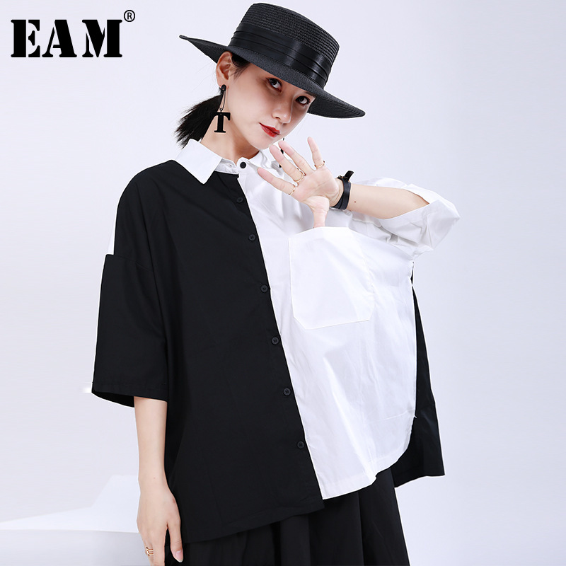 [EAM] Women White Black Split Big Size Blouse New Lapel Half Sleeve Loose Fit Shirt Fashion Tide Spring Summer 2020 1U181
