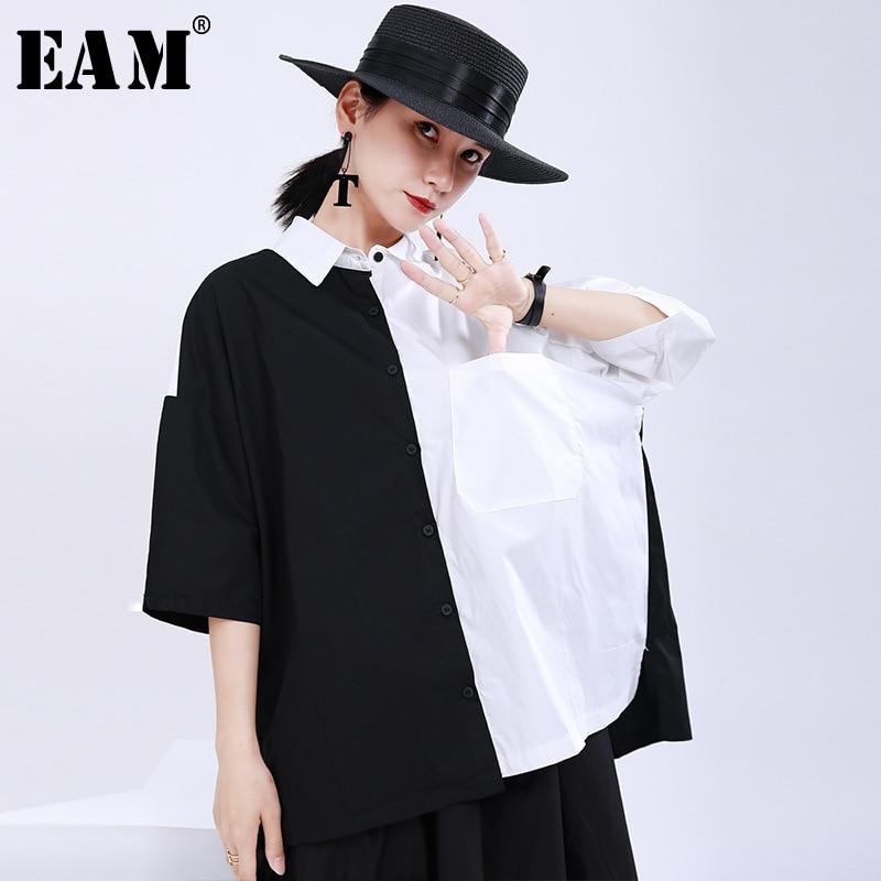 [EAM] Women White Black Split Big Size Blouse New Lapel Half Sleeve Loose Fit Shirt Fashion Tide Spring Summer 2020 1U181