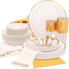 25 osób Party liczba odpowiednich złotych plastikowych imprez jednorazowe zastawy stołowe na dekoracje na przyjęcie urodzinowe ciasto plastikowe talerze