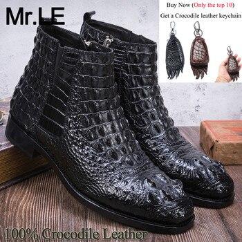 цена на Crocodile Boots Men Dress Shoe 100% Genuine Leather Party Wedding Luxury Casual Formal Fashion Shoes Mens Chelsea Alligator Boot