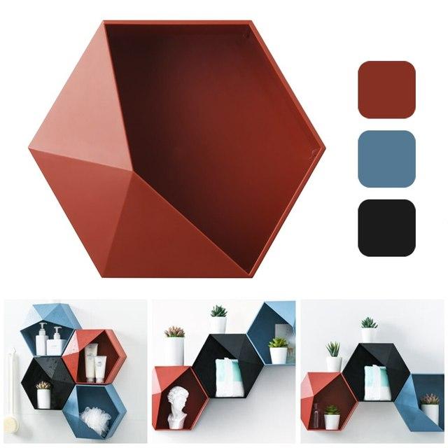 Nordique salon mural géométrique sans poinçon décoration murale salle de bain étagère décoration hexagone supports de rangement ^ *
