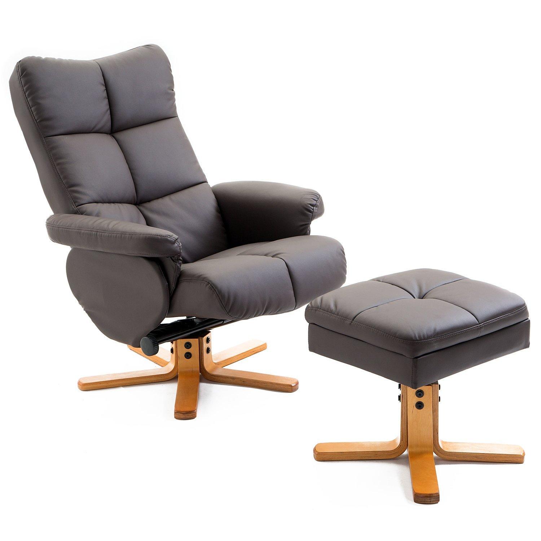 HOMCOM כורסא כיסא להירגע כורסה עם הדום פו עור חום
