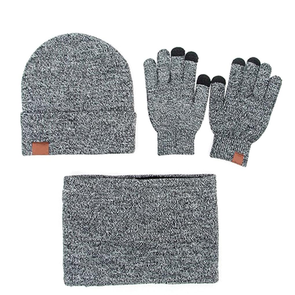 Winter Beanie Hat For Men Women Hat Scarf Warm Scarf Hat Gloves Set Male Female Hat Scarf Set 3 Pcs Beanies