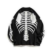 Skeleton Bone Jacquard Fashion Cardigan 2020 Streetwear Harajuku Casual Sweater Men Clothing Winter Coat Retro Loose Couple Top