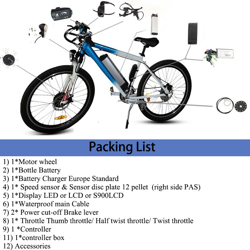 Kostenloser Versand 36 V/48 V 250 W/350 W/500 W Elektrische Fahrrad Kit für Berg bike 20'' 26