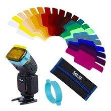 20 pièces Selens SE CG20 Flash Gel couleur filtres pour Metz Godox D7100 SB910 Speedlite Flash Flash Flash pistolet modificateur de contrôle déclairage