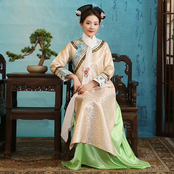Ancient clothing Chinese traditional costume for women elegant minority gown Qing dynasty style long cheongsam dress