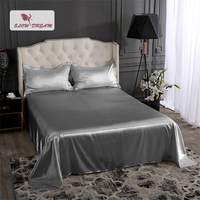 Slowdream Christmas Gray 100% Silk Healthy Bed Sheet Silky Pillowcase Flat Sheet Double Queen King Bed Linen Set For Women Gift