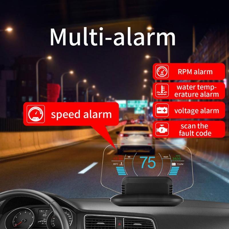 Système d'alarme de survitesse à affichage tête haute OBDII pour projecteur à double Mode HD à LED vitesse pour voiture ALLOYSEED C1 OBD2 HUD OBD 2 II GPS