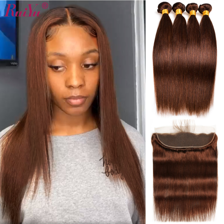 Straight Brown Bundles With Frontal Pre Plucked Brazilian Hair Weave Bundles WIth Lace Frontal With Baby Hair RUIYU Hair