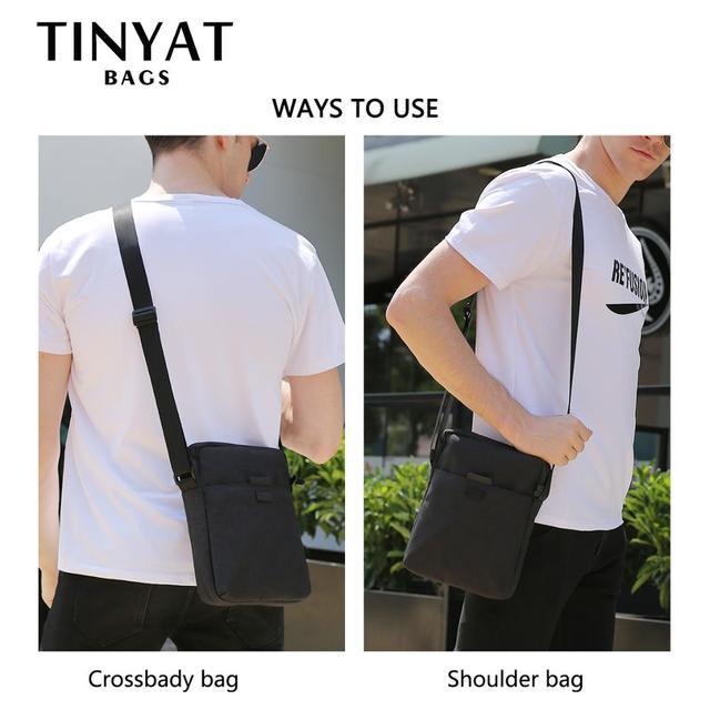 TINYAT Men's Bags Light Canvas Shoulder Bag For 7.9' Ipad Casual Crossbody Bags Waterproof Business Shoulder bag for men 0.13kg 3