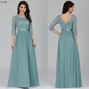 Image 4 - אלגנטי תחרת שושבינה שמלות אי פעם די EP07412 אונליין O צוואר 3/4 שרוול סקסי חתונת אורחים שמלות Vestido דה Festa לונגו