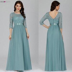 Image 4 - Elegant Lace Bridesmaid Dresses Ever Pretty EP07412 A Line O Neck 3/4 Sleeve Sexy Wedding Guest Dresses Vestido De Festa Longo