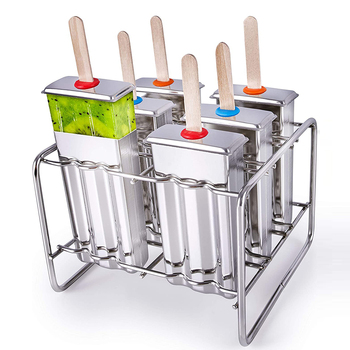 1Set Stainless Steel Popsicle Mold BPA Free Popsicle Maker Freeze Ice Popsicle Mold With Popsicle Sticks Clean Brush Holder Rack фото