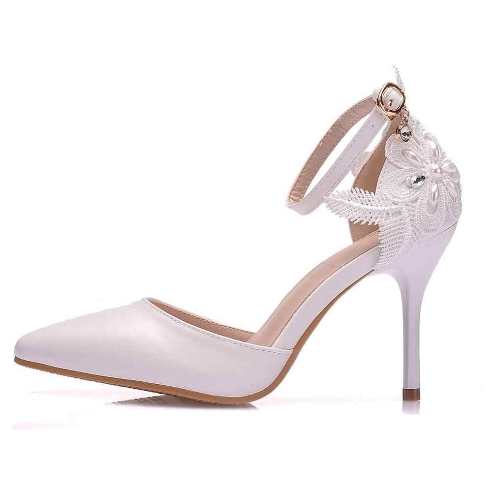 Pha Lê Lớn Kích Thước Giày Nữ Ren Trắng Giày Cao Gót DỰ TIỆC CƯỚI Giày Giày Cầu Chỉ Ngọt Hoang Dã Đơn giày