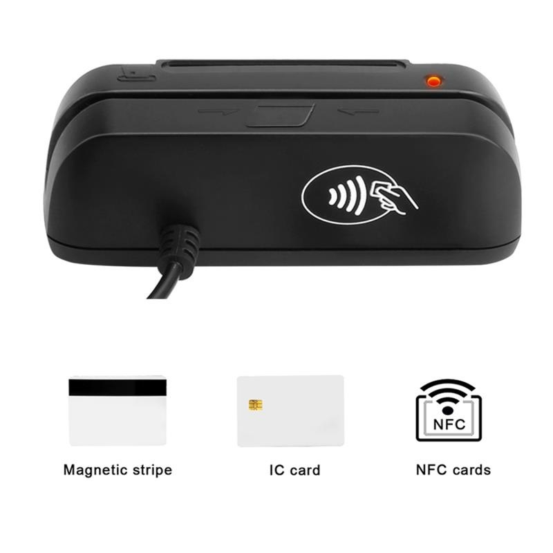 3 In 1 Combo Credit Card Reader SZTW150 Magnetic Card Reader + EMV Chip/RFID NFC Reader Writer For Read And Write CPU Chip Card