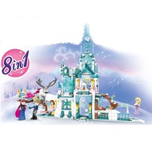лучшая цена 2019 Elsa Anna Romantic Castle Deer Model Building Blocks Cinderella Princess Castle City Set Friends B613