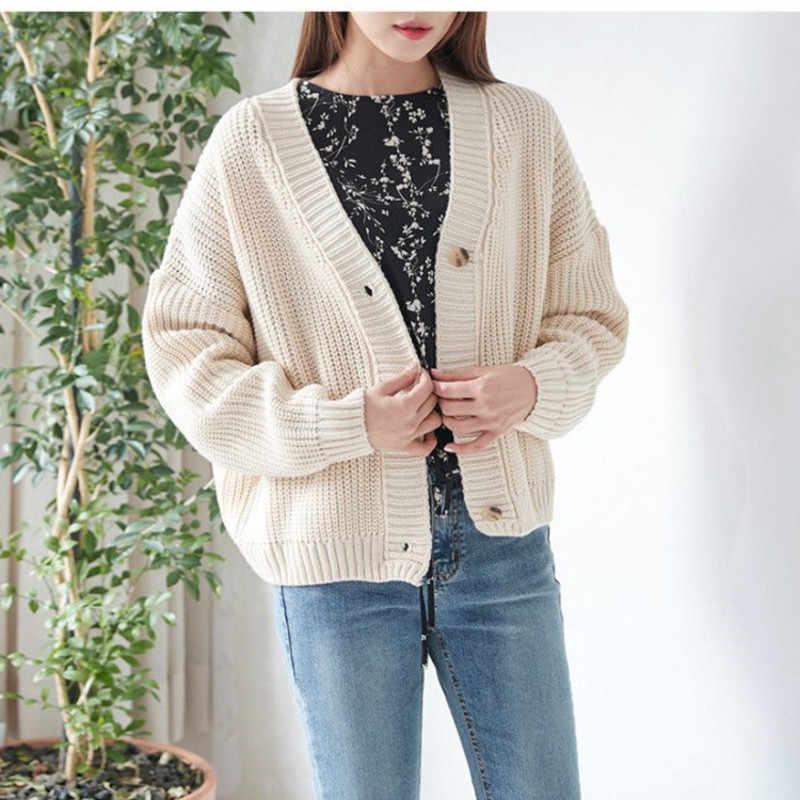 Genayooa Vintage ถักเสื้อสเวตเตอร์ถักผู้หญิงแขนยาวหลวมๆ Cardigan Jacket Coat Streetwear จัมเปอร์ Femme 2019
