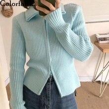 Short Cardigans Ladies Tops Women's Sweaters Knitted Colorfaith Korean-Style Winter Elegant
