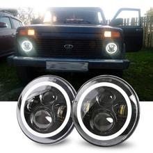 2Psc 7 Inch LED Headlight H4 Hi Lo With Halo Angel Eyes For Lada 4x4 urban Niva Jeep JK Land rover defender Hummer