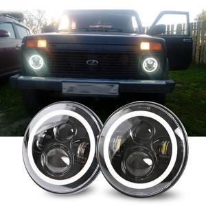 Image 1 - 2Psc 7 Inch LED Headlight H4 Hi Lo With Halo Angel Eyes For Lada 4x4 urban Niva Jeep JK Land rover defender Hummer