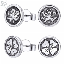 ZS 316L Stainless Steel Four-leaf Clover Punk Studs Earrings for Women Men Round Cake Plant Tree Rock Roll Ear Jewellery