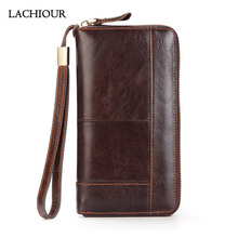 цена на Lachiour Men Oil Wax Leather Wallet Male Long Real Genuine Leather Hand Clutch Purse Zipper Around Coin Bag for Phone Clutches