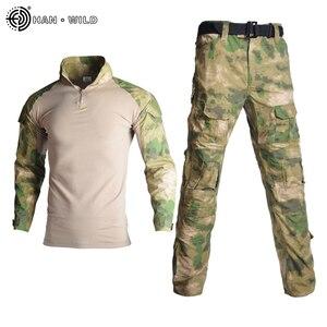 "Image 3 - טקטי הסוואה מדי צבא בגדי חליפת גברים מעיל רוח בארה""ב צבא Airsoft Combat חולצה + מכנסיים מטען הברך רפידות בתוספת 8XL"