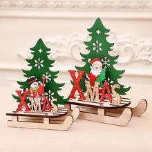 PATIMATE Wooden Christmas Decorations Santa Claus Elk Ornaments For Home 2019 Xmas Decor New Year 2020