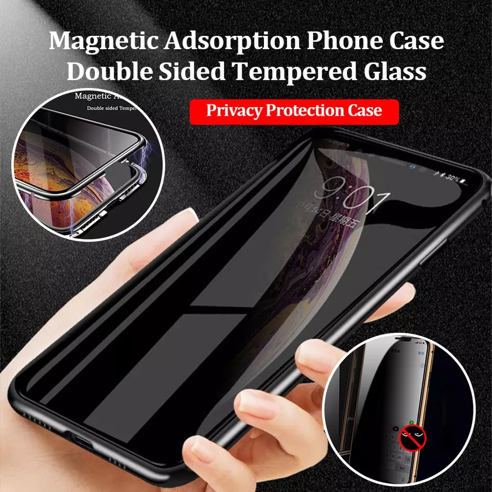 Magnetic Metal Privacy Tempered Glass Phone Case For Samsung galaxy Note 10 Plus 8 9 S10 S9 S8 For Samsung S20 Ultra S10 plus