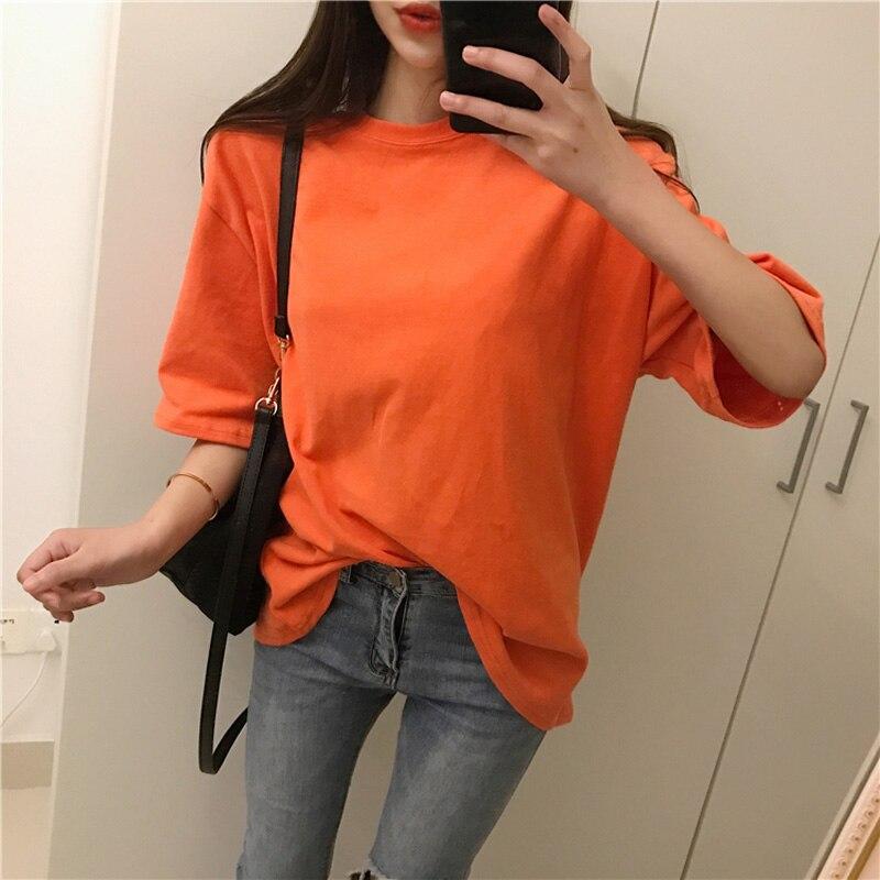 Mais tamanho coreano estilo t camisa feminina roupas de algodão moda vintage tshirt escola topo estético camisa femme ulzzang dropship