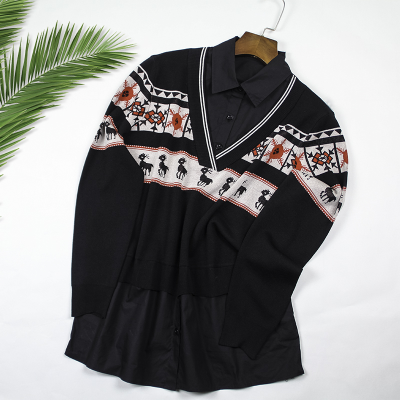 2020 New Spring Summer Knitted Patchwork Blouse Women Turn-down Shirt Preppy Vintage Office Lady Black Fashion Chic Korean Top title=
