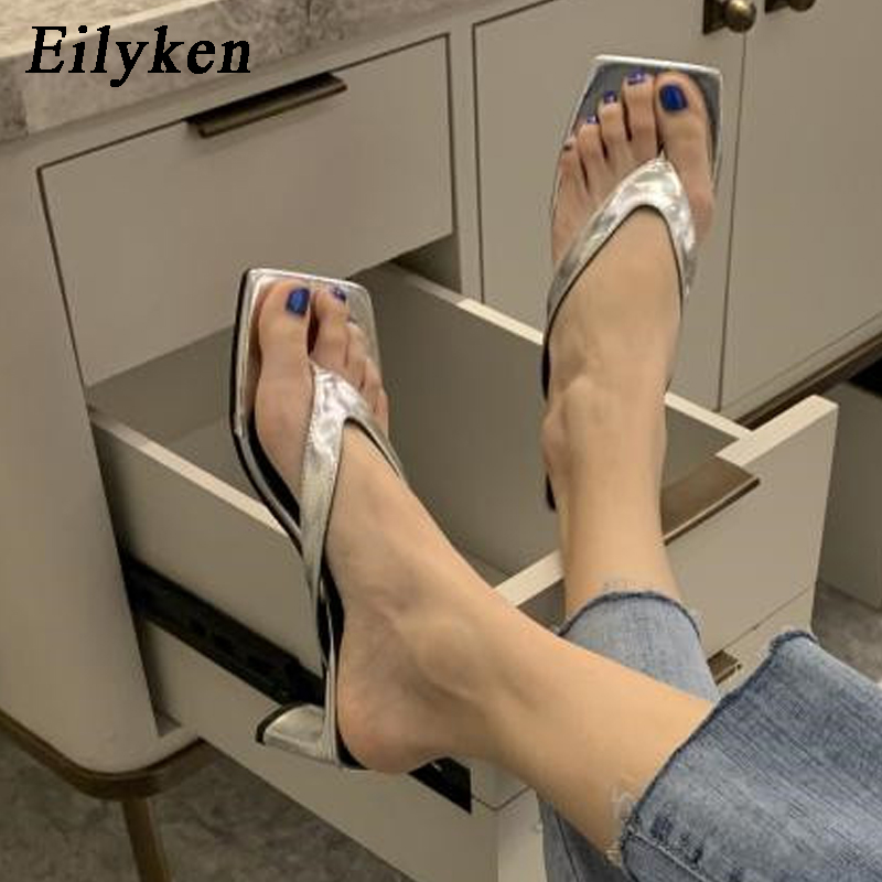 Eilyken Women Slides Outdoor Beach Slippers High Quality Cozy PU Leather Flip Flops Square Toe Sandals Thick Heel Shoe Size35-39