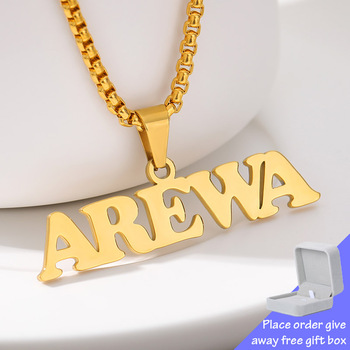 Custom Name Necklace For Women Men Gold Chain Stainless Steel Nameplate Pendant Capitalized Letter Collares Choker Jewelry Gifts korean real 24k gold necklace pendant for women gold jewelry lucky fish pendant chain necklace choker anniversary birthday gifts