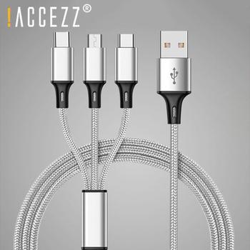 ! ACCEZZ 3 w 1 Micro USB type-c oświetlenie kable ładowania dla iPhone 8 6s Plus X Xiaomi Samsung uniwersalny telefon kabel ładowania 1 2M tanie i dobre opinie !ACCEZZ NONE LIGHTNING CN (pochodzenie) Chowany USB Cable For Samsung Galaxy S7 S6 Edge Note 4 3 2 For Xiaomi 4X Note 4 4X Micro USB Cable
