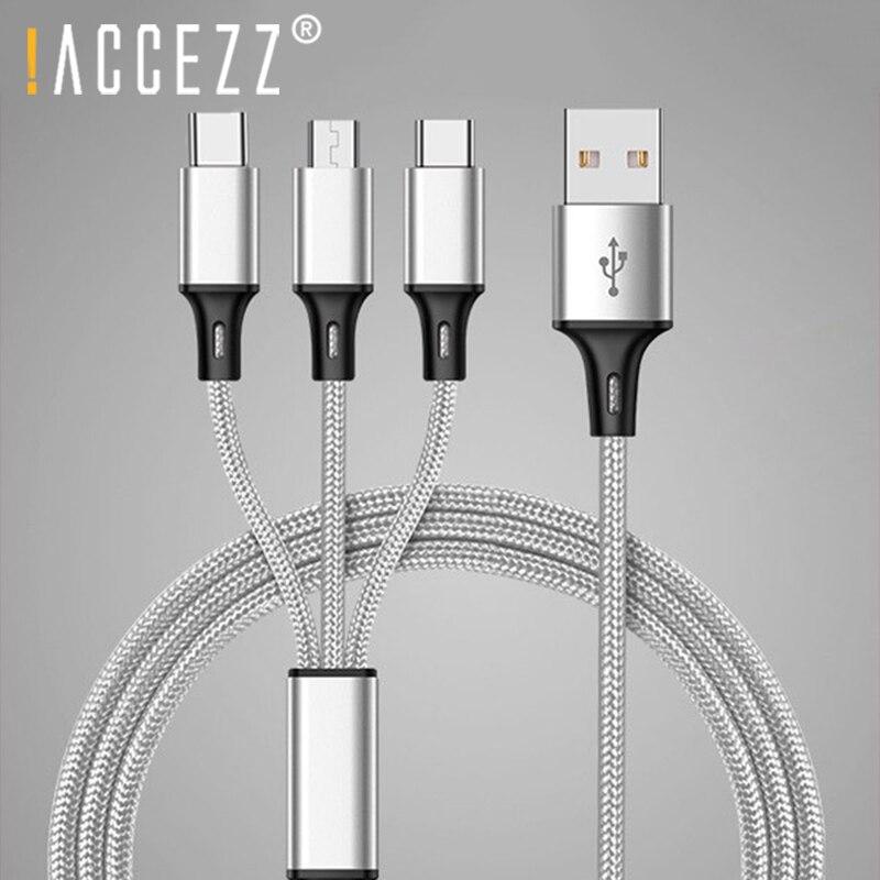 ! ACCEZZ 3 в 1 кабель с разъемом Micro USB Type-C освещение зарядные кабели для iPhone 8 Plus 6s Plus iPhone X Xiaomi Samsung универсальные чехлы для мобильного телефона зар...
