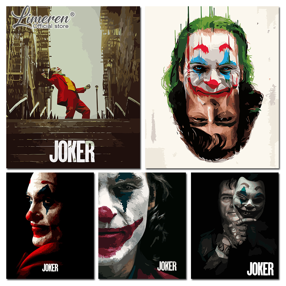 DIY Frame Oil Painting By Numbers On Canvas 2019 Joker Movie Wall Art Pictures Coloring By Numbers For Living Room Home Decor