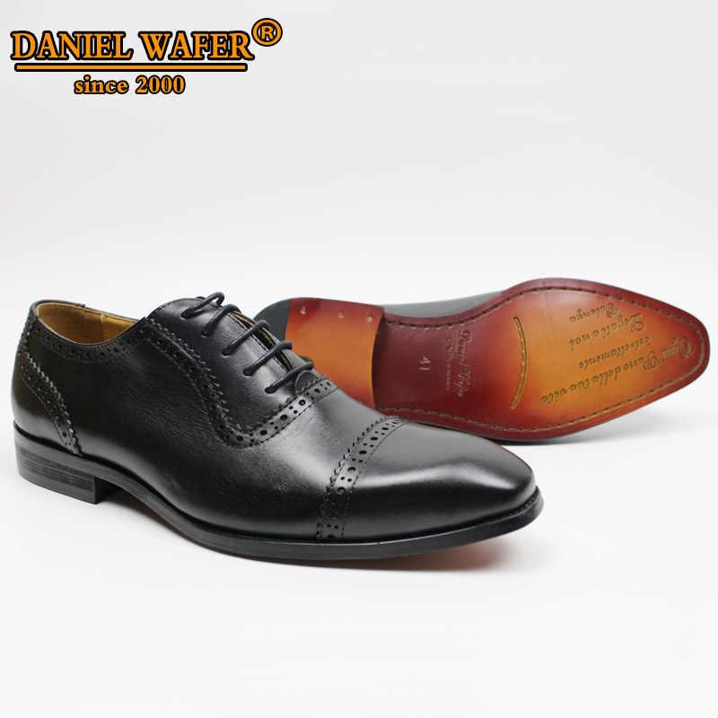Thương Hiệu cao cấp Giày Da Đầm Cao Cấp Đầm Ren Hoa Tay Lên Chỉ Cap Toe Cà Phê Đen Nam Trọng Brogue Oxford Nam giày