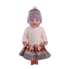 Doll accessories clothes hand-knitted sweater for 18-inch dolls and 43cm baby born dolls, children's best Christmas gifts new saliva towel wear for 43cm baby born zapf 17 inch dolls accessories