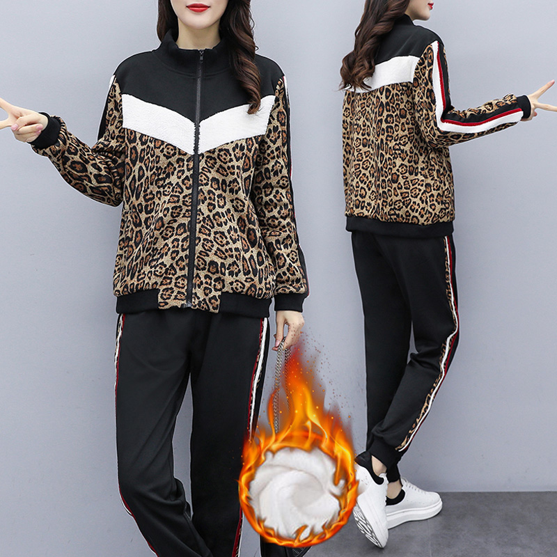 Women Warm Tracksuit Plus Size Plus Velvet Tthickening Leopard Matching Set Outfits Two Piece Suit Zipper Jacket And Harem Pants