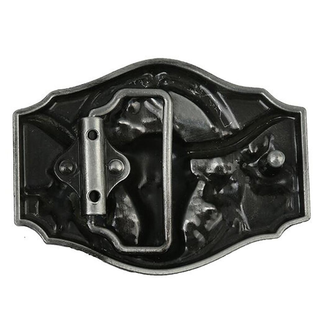 Men's Long Horn Bull Head Western Cowboy Belt Buckle - Texas Riding Retro Silver Belt Buckle