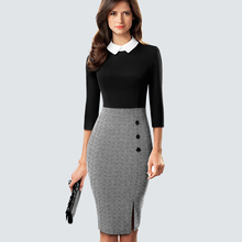 Retro Elegant Formal Suit collar Office Lady Chic Button Side Split Patchwork Bodycon Dress HB568