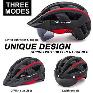 Image 3 - Victgoal Fahrrad Helm LED Moutain Straße USB Aufladbare Licht Radfahren Helm Für Mann Sonnenblende Goggles Männer MTB Bike Kopfbedeckungen