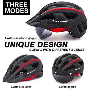 Image 3 - Victgoal אופניים קסדת LED Moutain כביש USB נטענת אור רכיבה על אופניים לגבר מגן שמש משקפי גברים MTB אופני כיסויי ראש