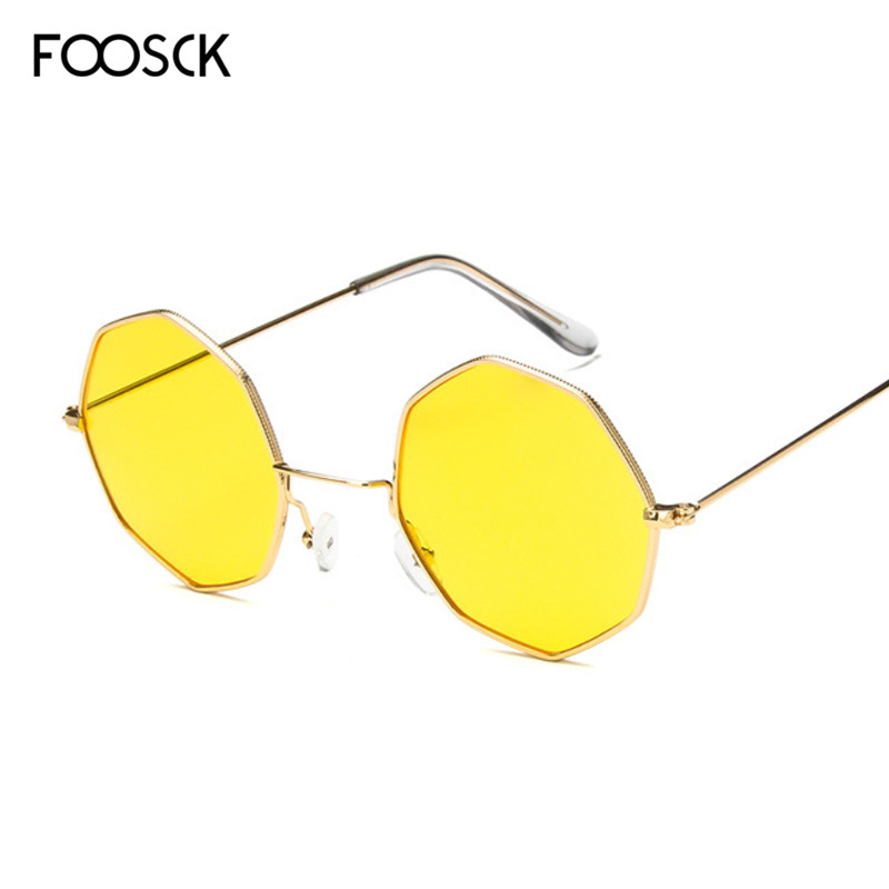 FOOSCK Vintage Classic Metal Women Polarized Sunglasses Fashion Polygon Men Sun Glasses Hexagon Female Eyeglasses UV400