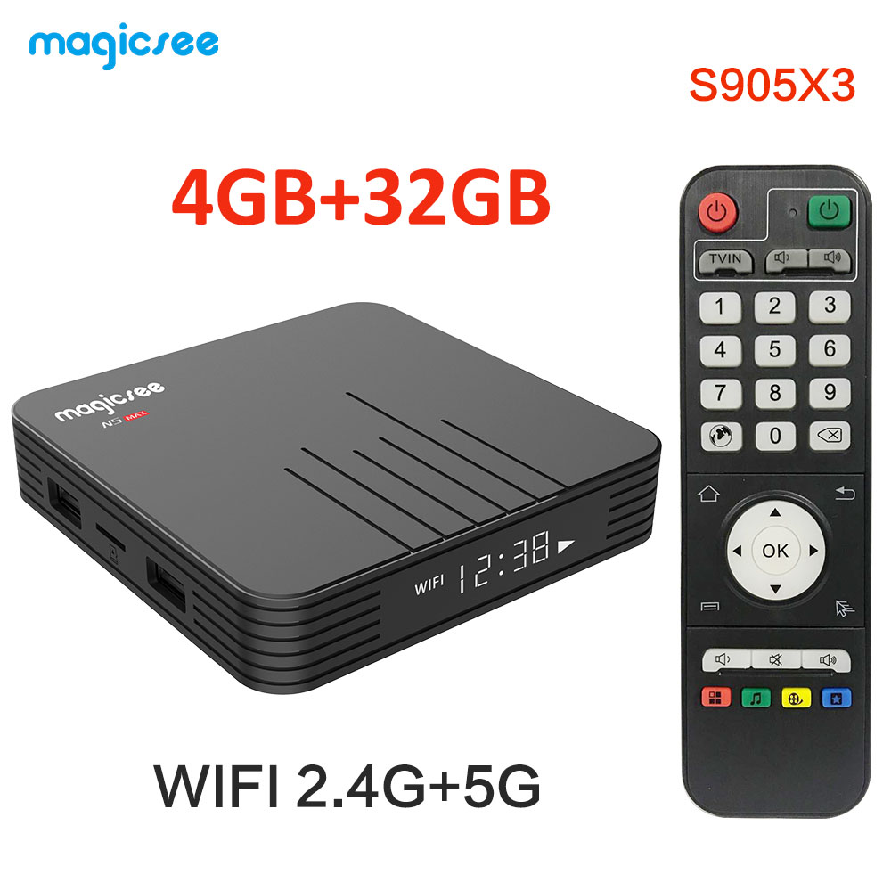 Magicsee N5 MAX Amlogic S905X3 Quad core ARM Cortex-A55 Android 9.0 4GB 32GB/64GB BT 4.0 100M Set Top Box 4k H.265 Media Player(China)